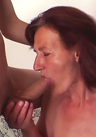 Mature redhead and her two artist boys are having a threesome with the babe getting filled