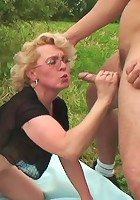 Granny babe wants as much hard dick as they can provide and she gets it all