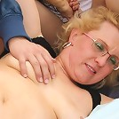 Two dudes fuck a naughty granny outdoors and she takes all the cock she can get