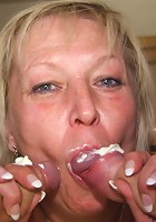 Granny is definitely a meat eater and she has two hot dicks fucking her body in the picture set