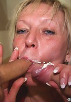 Mature threesome where the young repairmen fix her washing machine and plug her body