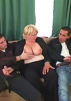 Hot grandma fucked in a threesome to take tons of cock in her super hot pussy hole