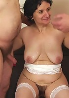 Old babe fucked by young man while she gives her husband a hot blowjob