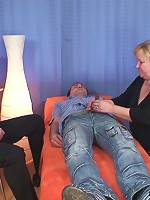 She is at the sex therapist and things are getting hands on in the mature threesome