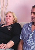 After the guys fuck this chubby mature babe they cum on her pantyhose and face