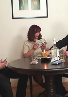 The mature redhead is playing strip poker and she cannot wait to have these guys fucking her