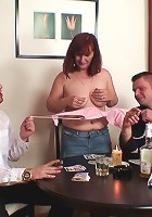Grandma makes two guys fuck her pussy and mouth after a game of sexy strip poker