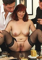 Mature redhead and her old pussy are enjoying the aftermath of a strip poker game