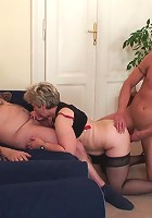 Threesome with a mature slut taking her husband's cock and that of her young lover