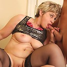 The granny slut wants lots of cock inside her body and the two men are feeding her