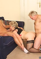 Her husband and her young lover are pounding her wet pussy and making her moan