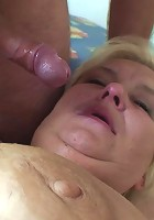 The blonde slut with the wrinkled flabby body is fucked in her holes by a dick stick