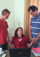 The mature employment officer meets two guys and they take turns fucking her