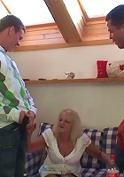 Granny slut fucked in her dripping wet holes by two guys with big hard dicks
