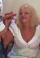 Granny babe takes two facials after the guys have fucked her solidly and completely