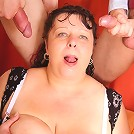 She is a mature pornstar crazy for cock and the two guys are giving it to her hard