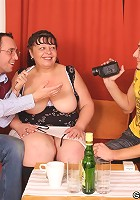 One guy gets in her mature mouth and the other uses her mature pussy throughout the set
