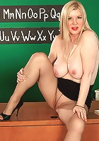 Chubby busty mom plays with her pussy