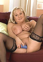 Blonde housewife with huge pair of tits