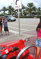 2 super hot mini skirt babes get picked up at the beach riding their scooter in this hot 3some fucking hot babe reality pic set