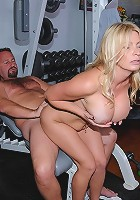 amaazing hot horny fucking big tits milf get fucked on the work out bench by her instructor hot pics