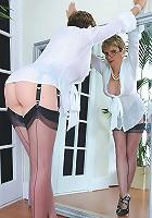 Leggy nylons mature