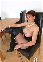 Boots and pantyhose milf