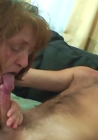 Hot old lady loves young dick